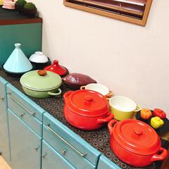 お鍋の収納/100均/セリア/キャンドゥ/鍋収納/鍋の居場所/... お気に入りの可愛いお鍋達❤ 見せる収納し…(2枚目)