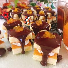 オレンジチョコケーキ/スポンジケーキ/生クリーム/チョコレート/オレンジピール/チョコケーキ たら~りチョコのオレンジクリームケーキ …