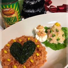MerryX'mas/コーンスープ/ハート/とまとチーズリゾット/ポテトサラダ/フォロー大歓迎/... 今日も我が家は勝手にXmas🎄  とまと…