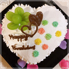 happybirthday/birthdayケーキ/シャインマスカット/レインボーケーキ/ハートケーキ/100均/... 21歳娘のお誕生日🎂おめでとう~ ハート…(3枚目)