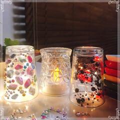 照明/Light/GLASS/ダイソー/セリア/100均/... glass逆さま照明✨ 作りました(≧∇…
