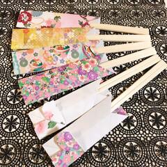お箸断捨離/折り紙/割り箸/割り箸袋/ハンドメイド/100均/... 割り箸袋(娘作)❤  お箸の断捨離~🎶 …