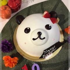 birthdayケーキ/くまケーキ/ダイソー/セリア/100均/おやつタイム/... くまちゃんケーキʕ•ᴥ•ʔ  19歳息子…