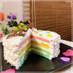 happybirthday/birthdayケーキ/シャインマスカット/レインボーケーキ/ハートケーキ/100均/... 21歳娘のお誕生日🎂おめでとう~ ハート…(5枚目)
