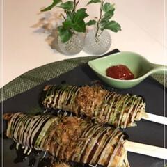 おうちごはん/キャベツ/お好み焼き/割り箸/チーズ キャベツ焼きinチーズクルクル巻き🎶  …