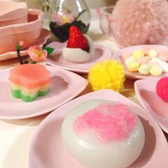いがまんじゅう/ひなあられ/いちご大福/3色ういろう/ひな祭り/ピンク/... いがまんじゅう🌸 お米ピンクで可愛い(≧…
