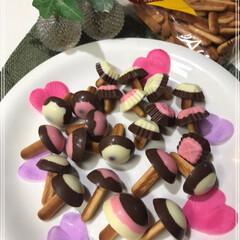 きのこの山/製氷器/卵パック/ビスケット/チョコレート/きのこちゃん/... 春~🌸 きのこ~🍄 きのこは秋か....…