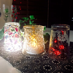 グラス/100均/ロウソクランプ/グラスLight/キッチン/ダイソー/... 夜の照明✨ 逆さまグラスLight 作っ…