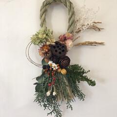 しめ縄リース/お正月飾り/お正月/2019年/冬 人生で初めて作ったしめ縄リース。 リース…