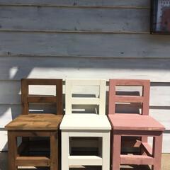 椅子 /子供椅子/花台/DIY/住まい 手作りの子供椅子。 椅子としてだけじゃな…(1枚目)