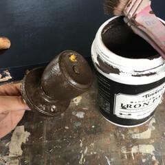 アイアン塗料/ターナー/ドアノブ/インテリア/DIY/リフォーム/... ドアノブはアイアン塗料でリメイク。 ター…