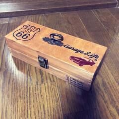 小物入れ/木箱/セリア セリアの木箱二つくっ付けて 小物入れ作っ…