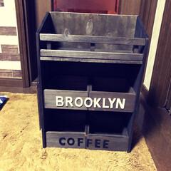 Brooklyn Coffee/カフェ風/三段シェルフ セリアの木箱と板とスノコでカフェ風 三段…