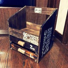 小物入れ/セリア/DIY セリアの板と木箱で引き出し付き 小物入れ…