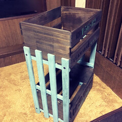 セリア木箱 セリアの木箱とキャンドゥのスノコで二段シ…(2枚目)