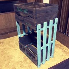 セリア木箱 セリアの木箱とキャンドゥのスノコで二段シ…(3枚目)