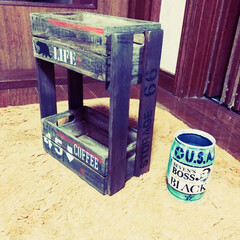 小物入れ/二段シェルフ/リメ缶 端材のスノコと木箱で二段シェルフと久々リ…