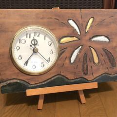 花火/手作り/DIY/ハンドメイド/子ども/時計/... 13歳の時に私が作った時計です🕰白い板を…