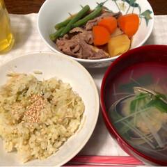 夕飯/夕ごはん/ごはん/LIMIAごはんクラブ/わたしのごはん/おうちごはんクラブ/... 昨夜の夕飯は〜 菜の花とえのきの炊き込み…