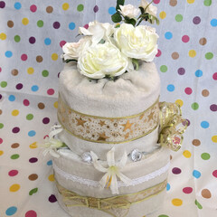 初めて/甥っ子/出産祝い/おむつケーキ/フォロー大歓迎 初手作りおむつケーキ、完成しました!お母…