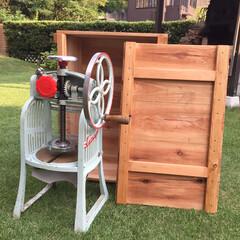 焼印/かき氷/木箱/野地板/野地板DIY/木箱収納/... 夏前にゲットしたカキ氷機、収納箱がなかっ…(1枚目)