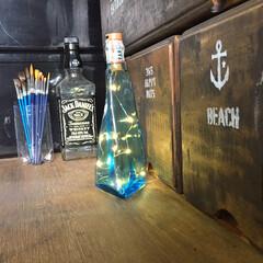 私の好きな場所/男前/水槽/メダカ/ジュエリーライト/ハーバリウム/... セリアで見つけたジュエリーライト。 お酒…