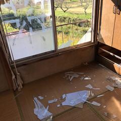 臨時作業/瓦屋根補修/ガラス/臨時補修/災害被害/住まい/... 台風の影響で割れたガラスサッシの臨時補修…