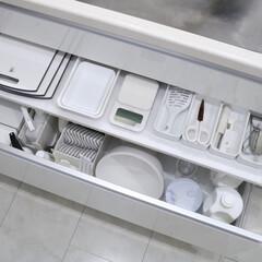 整理収納/整理整頓/シンク下収納/シンク下/白が好き/白い家/... キッチンシンク下の引き出しの中に、インナ…