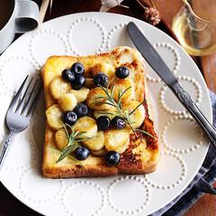トースト/ミナペルホネン/朝ごはん/おうちごはん バターでソテーしたバナナで甘々トースト♩…