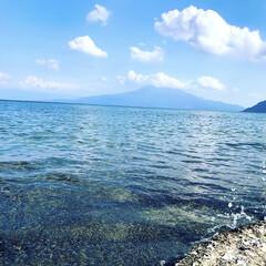 桜島/海/夏/重富海岸 いつも見ている景色…海の向こうには桜島……