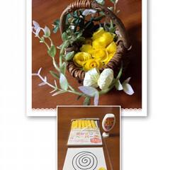 ハンドメイド/わんこ同好会/セリア/わたしの手作り 懐かしの『お花紙』で お花🌼作ってみまし…
