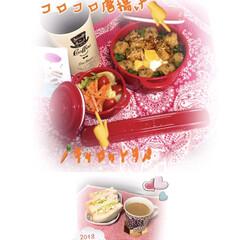 お弁当作り 娘のお弁当とママの朝食 コロコロ唐揚げの…(1枚目)