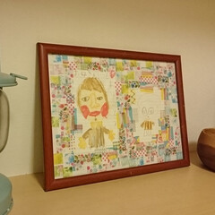 マスキングテープ/アート こどもが描いてくれた絵のまわりをマスキン…