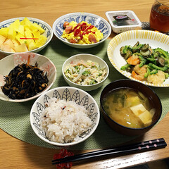 夕飯/おうちごはん 今日の夕飯🍴 ゴーヤが美味しい(*≧ω≦)