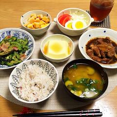 生姜焼き/ゴーヤ/夕飯/フード/おうちごはん 今日の夕飯🍴
