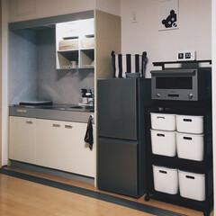 塩系インテリア/モノトーン/キッチン/キッチンまわり 男の小さなキッチンまわりをリニューアルw…
