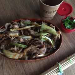 牛丼弁当/お弁当/わたしのごはん 久しぶりな牛丼弁当🍱  三つ葉のお味噌汁…