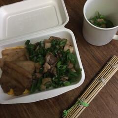 お弁当 焼豚&チャーコロ丼弁当🍱  うす焼き玉子…(1枚目)