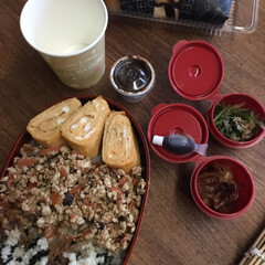 平成弁当/お弁当/みんなのお弁当 鰹節唐揚げ海苔弁当🍱  目玉焼き、本門寺…(6枚目)