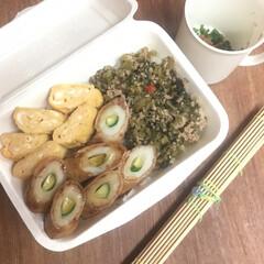 お弁当 竹輪きゅうり豚肉巻き弁当🍱  出汁巻玉子…(1枚目)