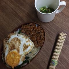 お弁当 ニラもやしハム炒め弁当🍱  目玉焼き、辛…(1枚目)