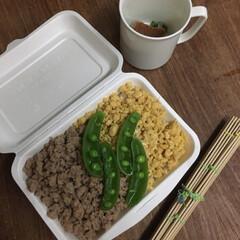 お弁当 そぼろ丼弁当🍱  長生き味噌汁。(1枚目)