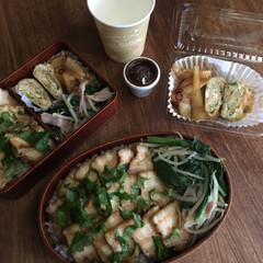 平成弁当/お弁当/みんなのお弁当 鰹節唐揚げ海苔弁当🍱  目玉焼き、本門寺…(4枚目)