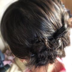 花火大会/ファッション 花火大会で娘の髪を三つ編みでアップに! …