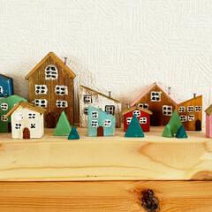 小さなお家/端材でDIY/端材利用/端材活用/端材リメイク/端材消費/... 端材の街が完成しました(///ω///)♪