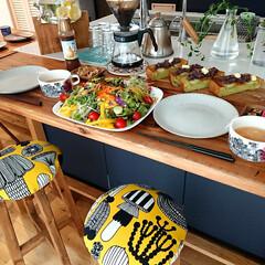 キッチン雑貨/DIY/100均/マリメッコ/スツール/キッチン/... キッチンの高さと合わせた 手軽なカウンタ…