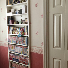 本収納/漫画収納/コミック収納/漫画コレクション/漫画大好き 長女の部屋は、文庫やコミック用の本棚を壁…