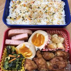 ジャーマンポテト/唐揚げ/ゆで卵/お弁当/小松菜お浸し/ソーセージ 今日のお弁当🍱