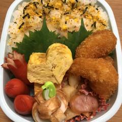 ちくわ/赤ウインナー/ジャーマンポテト/エビフライ/ネギ卵焼き 今日のお弁当🍱 明日休み