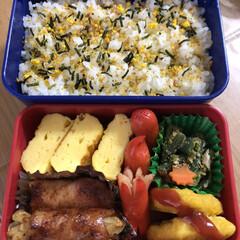 ポテトベーコン巻き焼肉味/チキンナゲット/赤ウインナー/インゲンの胡麻和え/玉子焼き 今日のお弁当🍱